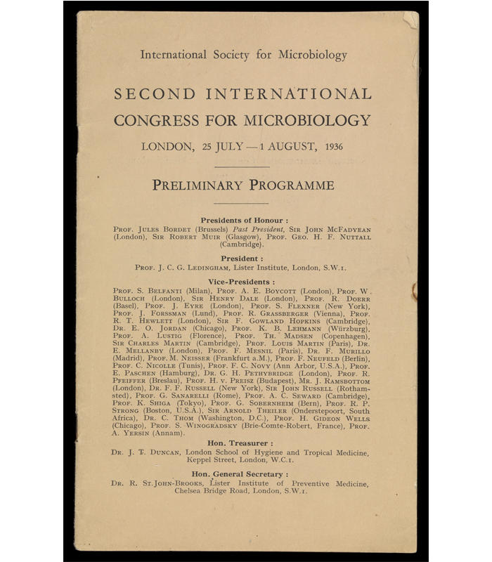 Preliminary Programme from the Second International Congress of Microbiology which took place in London from 25 July – 1 August 1936.