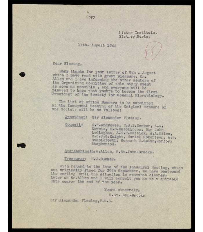 Response from Dr. R. St. John. Brooks to Sir Alexander Fleming regarding the list of office bearers to be submitted at the Inaugural Meeting of the Society for General Microbiology, on 11 August 1944.