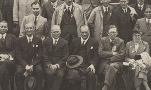 Close-up taken from group photo of delegates attending the Second International Congress of Microbiology held from 25 July – 1 August 1936 at University College London, UK.