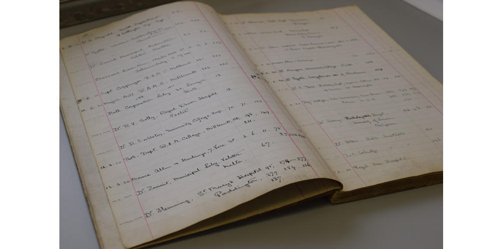 The National Collection of Type Cultures' (NCTC) first order book, used from 4January 1920 to 4May 1923.