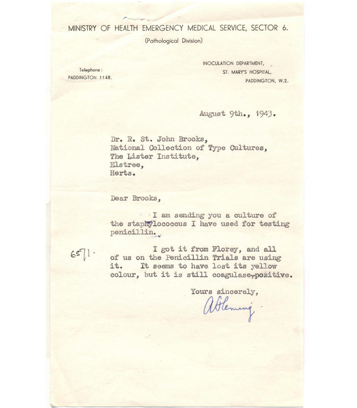 Letter regarding the deposit of NCTC 6571 Staphylococcus aureus (also known as the Oxford Staphylococcus), dated 9 August 1943.