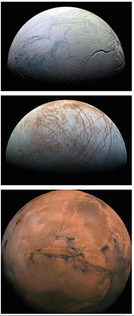 Fig. 1. Enceladus, a moon of Saturn (top), Europa, a moon of Jupiter (middle) and Mars (bottom).