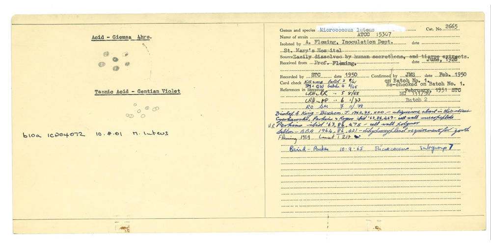 National Collection of Type Cultures strain provenance and characteristics card for NCTC 2665, dated February 1950.