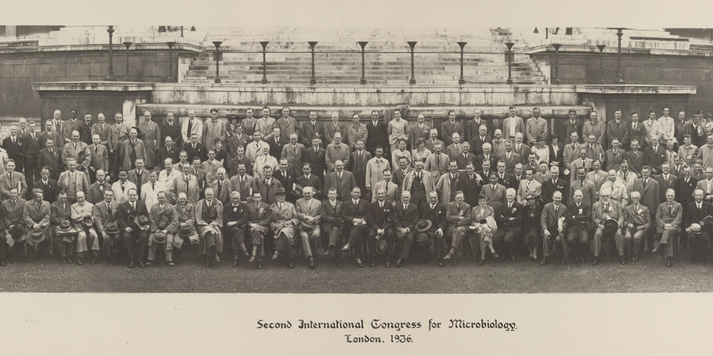Group photo of delegates attending the Second International Congress of Microbiology held from 25 July – 1 August 1936 at University College London, UK.