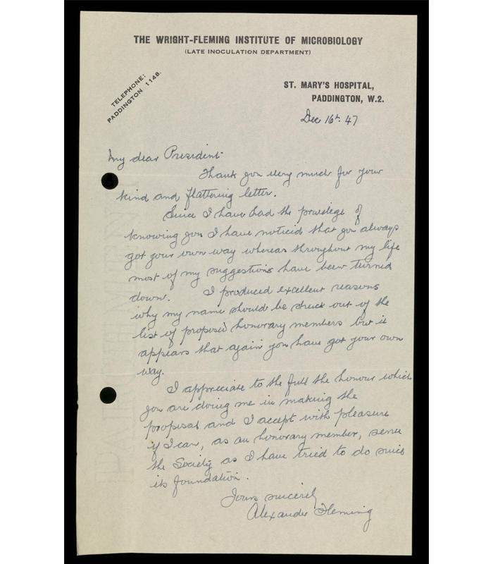 Handwritten letter from Sir Alexander Fleming, dated 16 December 1947, accepting the offer made by Dr. St. R. John. Brooks to become the first President of the Society for General Microbiology.